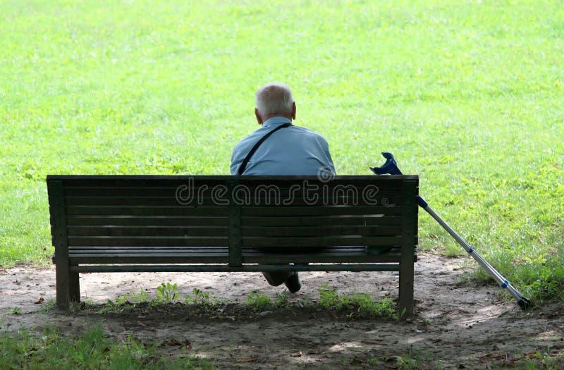 Großvater im Park stockfoto