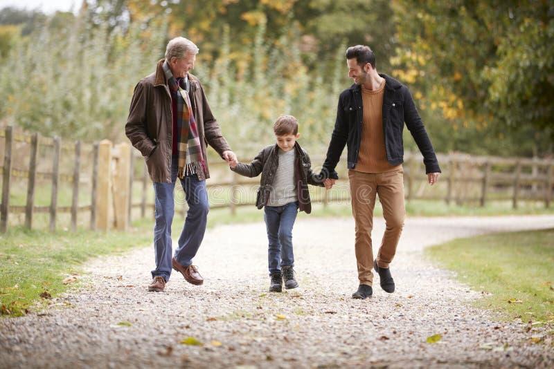 Großvater mit Sohn und Enkel auf Autumn Walk In Countryside Together stockbild