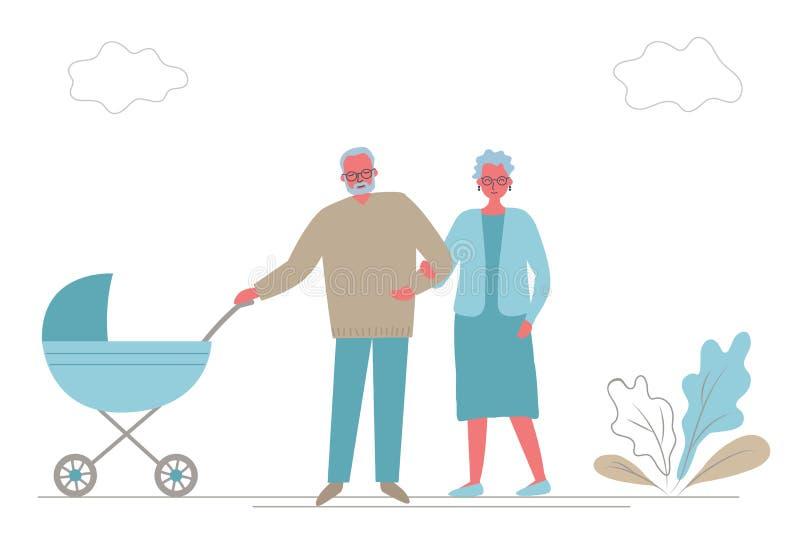 Großvater und Großmutter mit Baby im Spaziergänger Großeltern mit einem blauen Wagen auf einem Weg vektor abbildung