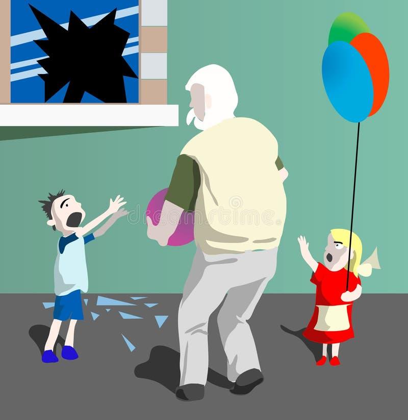 Großvater und Kinder. lizenzfreie abbildung