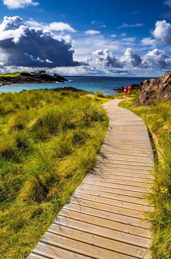Großartige Sandy Clachtoll Beach And Atlantic-Küste nahe Lochinver in Schottland stockfoto