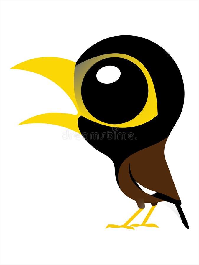 Große Augen netter Vogel, Vogelkarikatur von allgemeinem Myna vektor abbildung