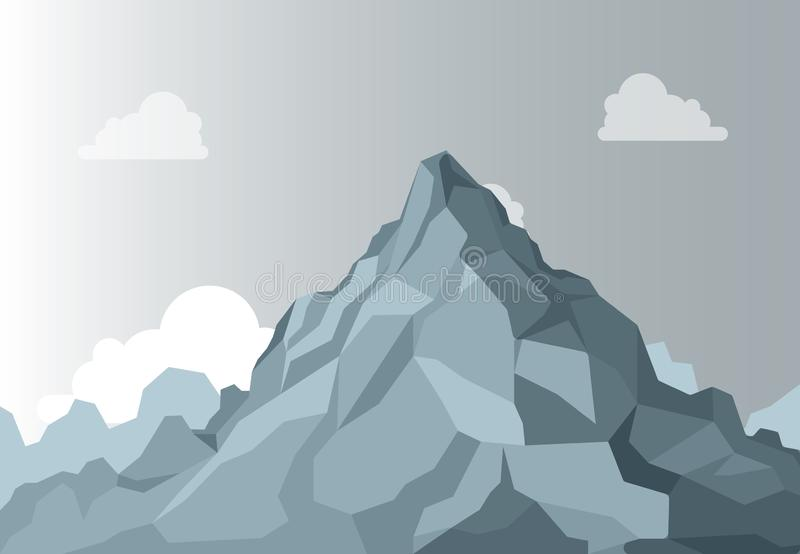 Große Berge Alpiner Gebirgsgrafische Spitze, hoher Formstein auf Hintergrundhimmel Vektor lokalisiert lizenzfreie abbildung