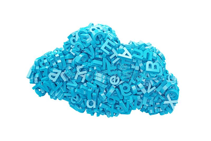 Große Daten blaue Charaktere in der Wolkenform Abbildung 3D lizenzfreies stockbild