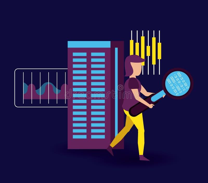 Große Daten und Mitarbeiter stock abbildung