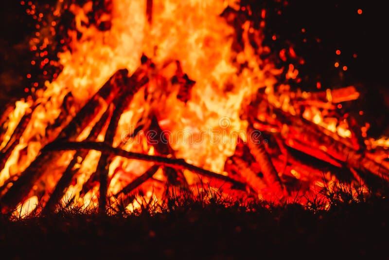 Große Flammen auf Feld während des Feuers stockfoto