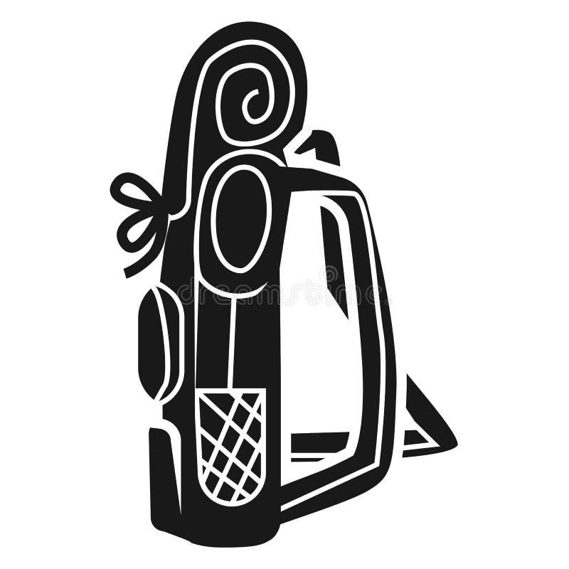 Große touristische Rucksackseitenikone, einfache Art vektor abbildung