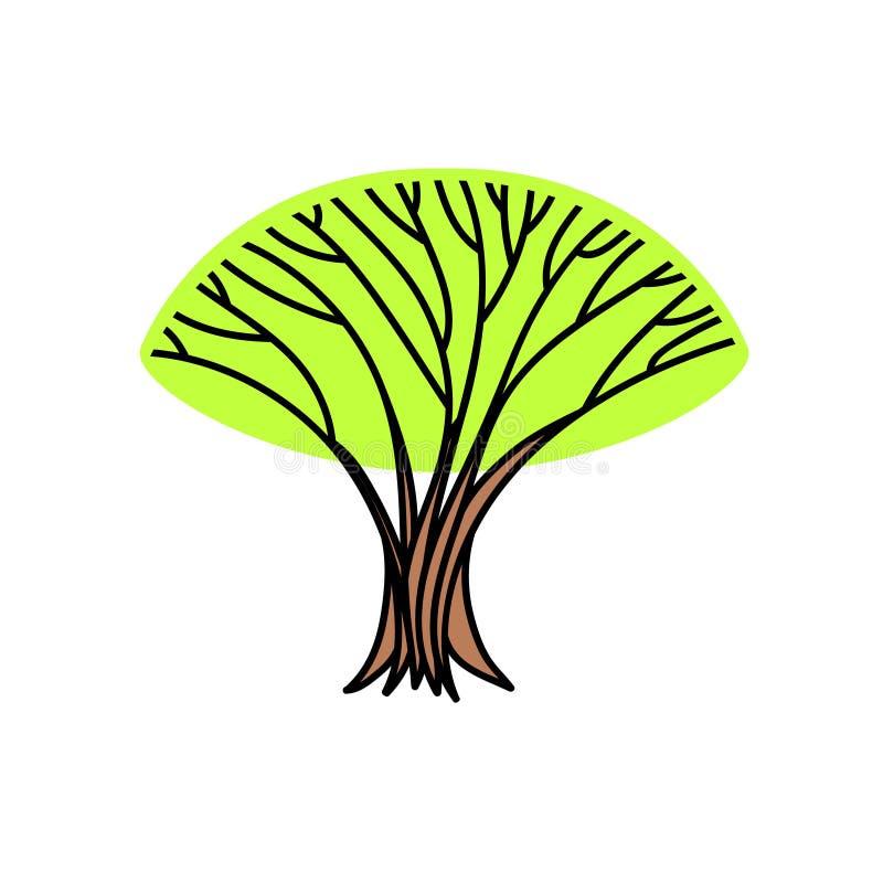 Großer alter einsamer Baum mit frischem grünem Laub, Frühlingsillustration, Vektor stock abbildung
