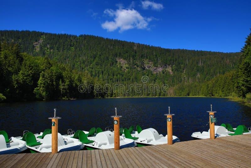 Großer Arbersee é um lago em Bayerischer Wald, Baviera, Alemanha fotos de stock
