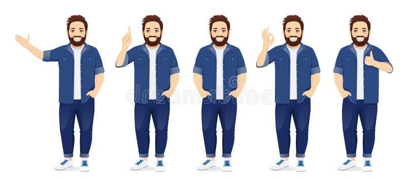 Großer Mann in der zufälligen Kleidung eingestellt vektor abbildung