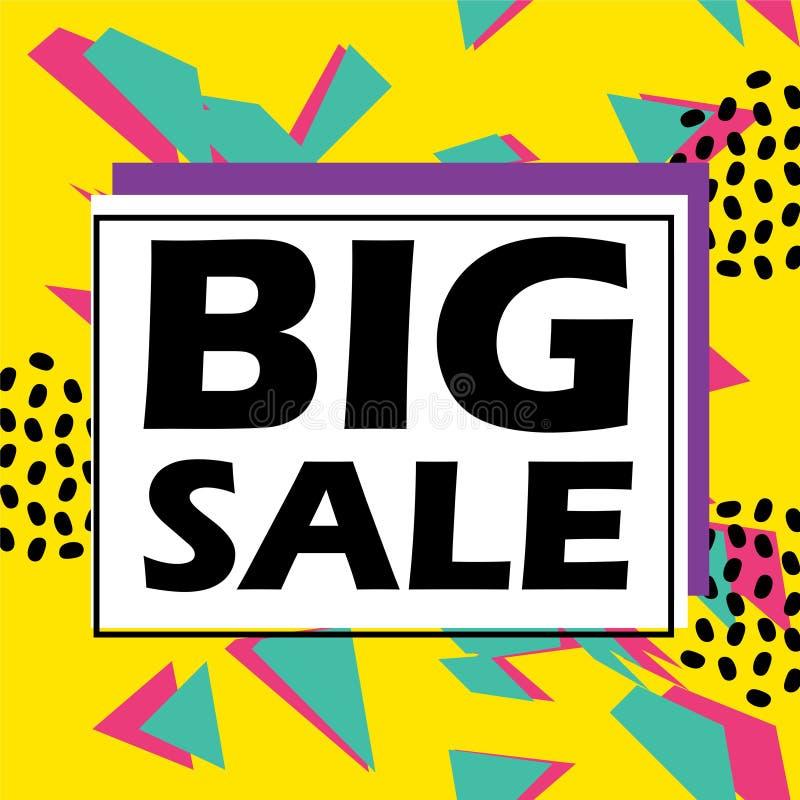Großer Verkaufsfahnen-Schablonenentwurf mit bunten modischen Knallfarben Hintergrund und Zusammenfassung Memphis geometrisch stock abbildung