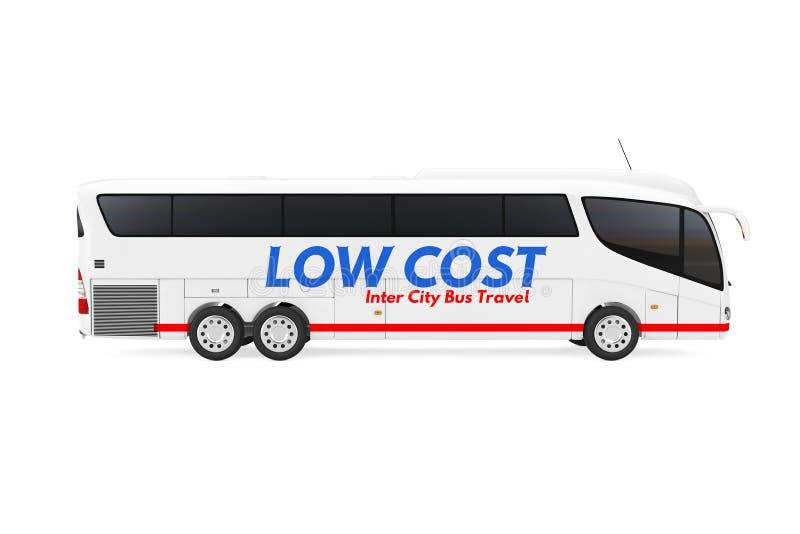 Großer weißer Trainer-Tour Inter City-Reise-Bus mit niedrigem Kosten Zeichen Wiedergabe 3d stock abbildung
