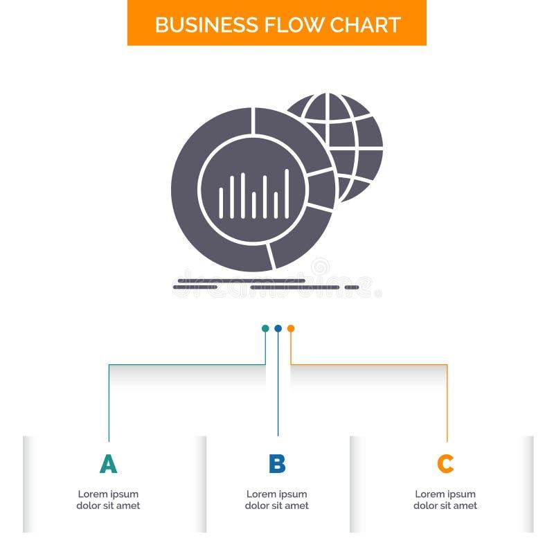 Gro?, Diagramm, Daten, Welt, infographic Gesch?fts-Flussdiagramm-Entwurf mit 3 Schritten Glyph-Ikone f?r Darstellungs-Hintergrund lizenzfreie abbildung