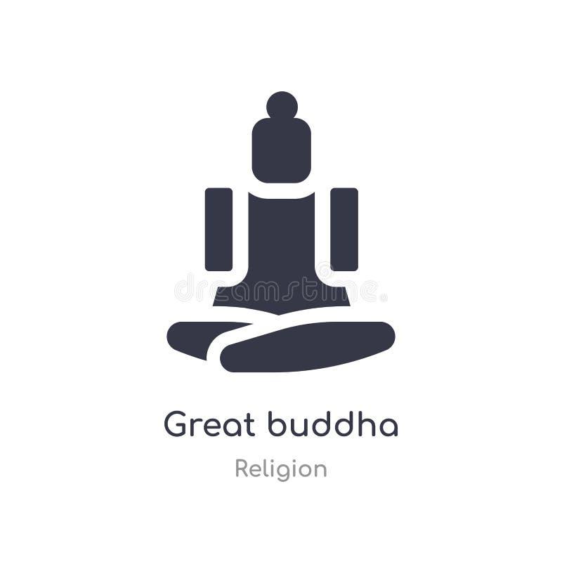 Gro?e Buddha-Ikone lokalisierte große Buddha-Ikonenvektorillustration von der Religionssammlung editable singen Sie Symbol kann G lizenzfreie abbildung