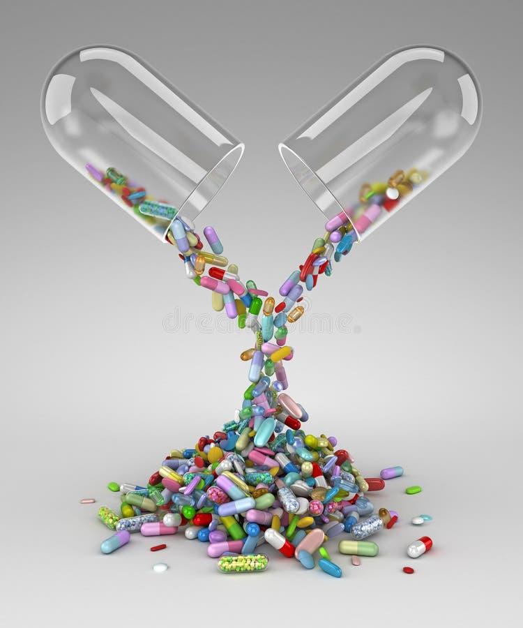 Gro?e Pille, die einen Stapel von bunten Pillen leert lizenzfreie abbildung