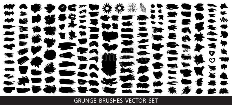 Gro?e Sammlung schwarze Farbe, Tintenb?rstenanschl?ge, B?rsten, Linien, grungy Schmutzige k?nstlerische Gestaltungselemente, K?st vektor abbildung