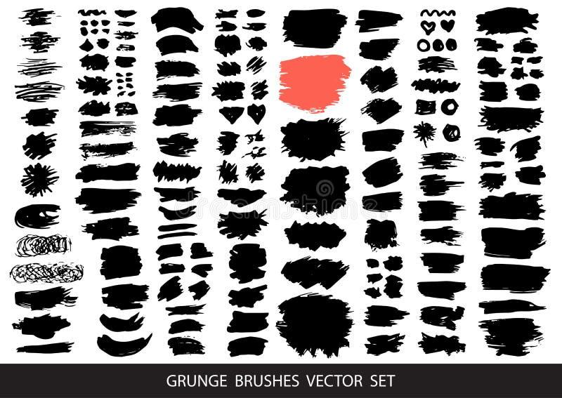 Gro?e Sammlung schwarze Farbe, Tintenb?rstenanschl?ge, B?rsten, Linien, grungy Schmutzige k?nstlerische Gestaltungselemente, K?st lizenzfreie abbildung