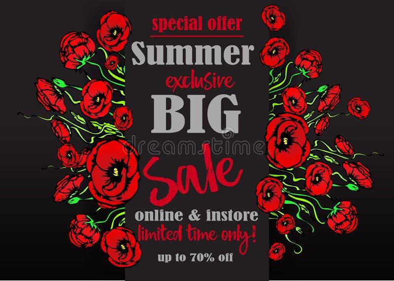 Gro?e Verkauf flayer Schablone f?r Netz und Druck, schwarzer Hintergrund mit rotem Blumenstrau? Kreativer Vektorentwurf, elegant  stock abbildung