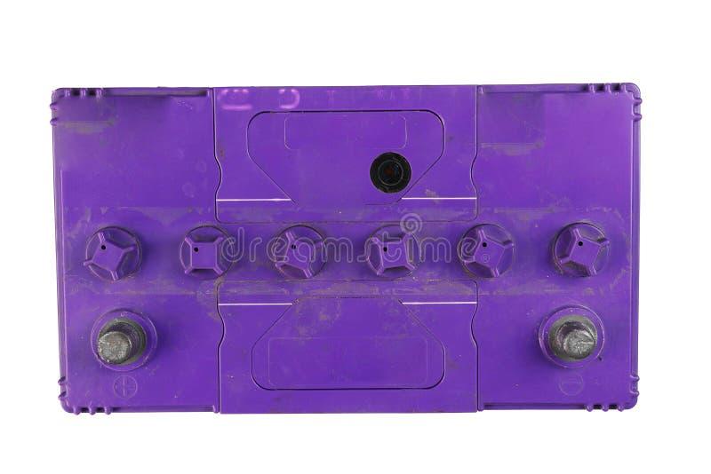 Gro?er Batterie-LKW, Autobatterie, Oberseite der Batterie, lokalisiert auf schwarzem Hintergrund stockbilder
