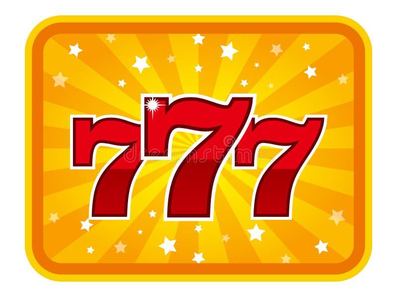 Gro?er Gewinn kerbt das Kasino mit 777 Fahnen vektor abbildung