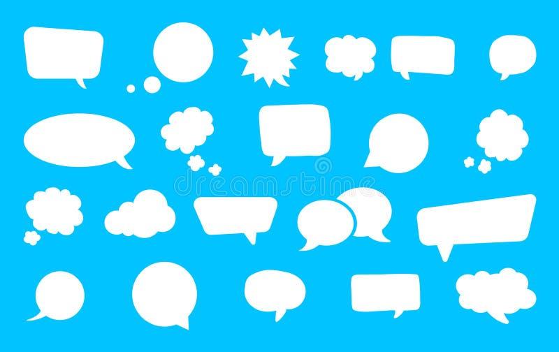 Gro?er Satz Spracheblasen Retro- leere komische Blasen aufkleber Auch im corel abgehobenen Betrag vektor abbildung