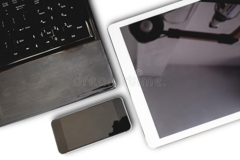 Gro of modern electronic devices, computer laptop, digital tablet and mobile smart phone,isolated on white background royalty free stock photography