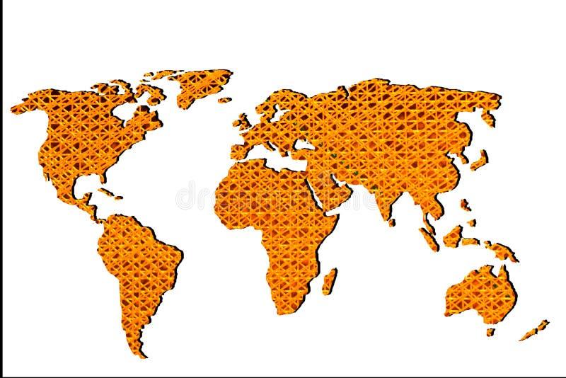 Grob skizziert Weltkarte mit Mustern stockfotografie