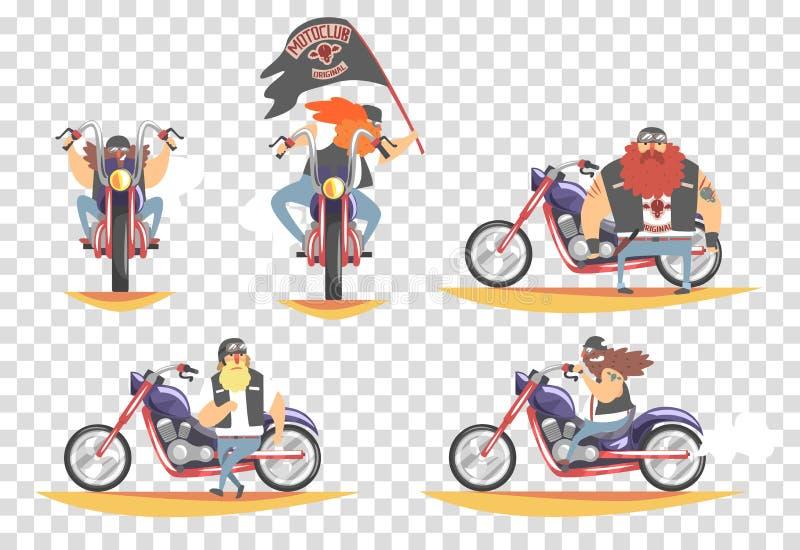 Grobe Radfahrer stellten, die bärtigen Männer ein, die Motorradvektor Illustration reiten vektor abbildung