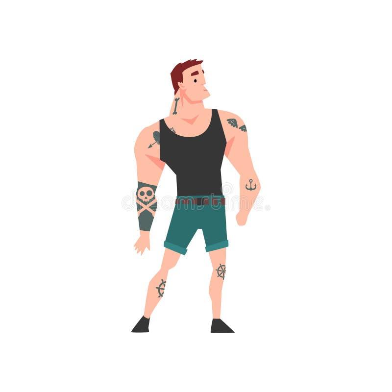 Grober muskulöser Mann mit Tätowierung, attraktive tätowierte Guy Wearing Black Sleeveless Shirt-Vektor-Illustration stock abbildung