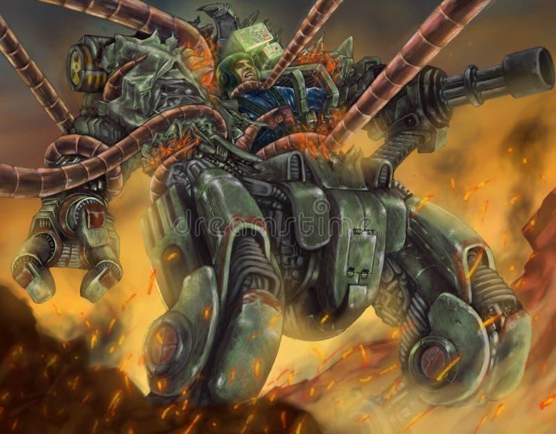 Grober Weltkrieg-Robotermann gegen Maschine stock abbildung