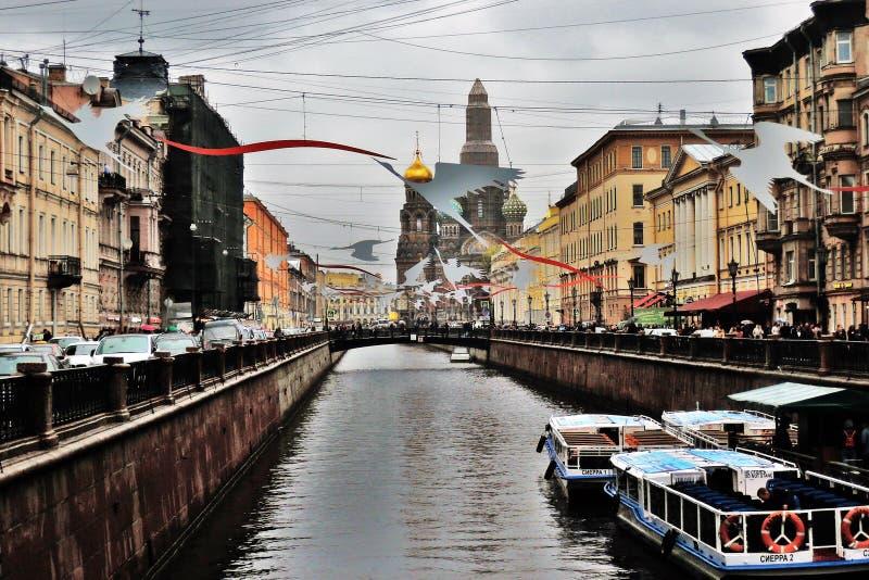 Grobiyedov的运河 圣彼德堡老建筑学  库存图片