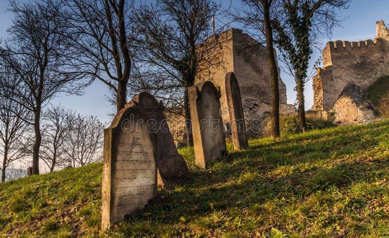 Grobowów kamienie przy żydowskim cmentarzem pod średniowiecznym grodowym Beckov zdjęcia royalty free