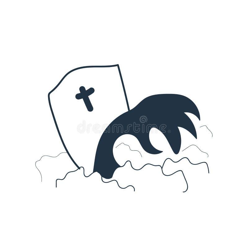 Grobowcowy ikona wektor odizolowywający na białym tle, grobowa znak ilustracja wektor