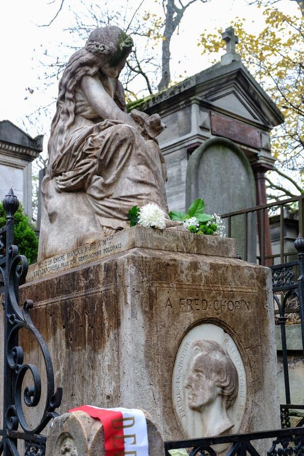 Grobowiec Chopinowski Frederic, sławny Polski kompozytor, przy Pere Lachaise cmentarzem w Paryż, Francja zdjęcia royalty free