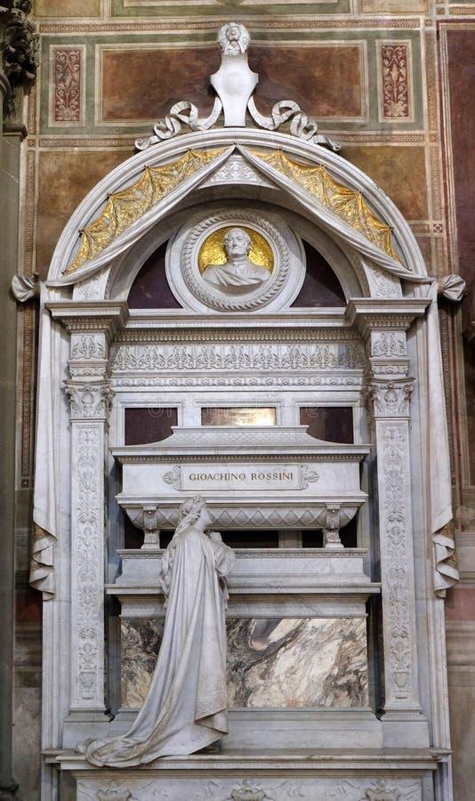 Grobowiec Gioachino Rossini, pomnik pogrzebowy, Bazylika Santa Croce we Florencji obrazy stock