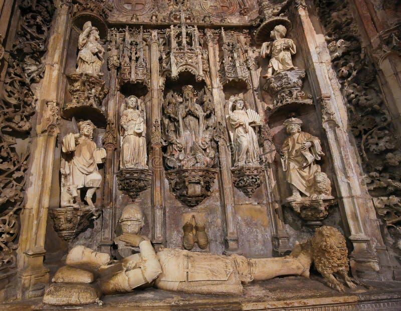 Grobowiec królewiątko Afonso Henriques w monasterze Santa Cruz (Coimbr obrazy stock