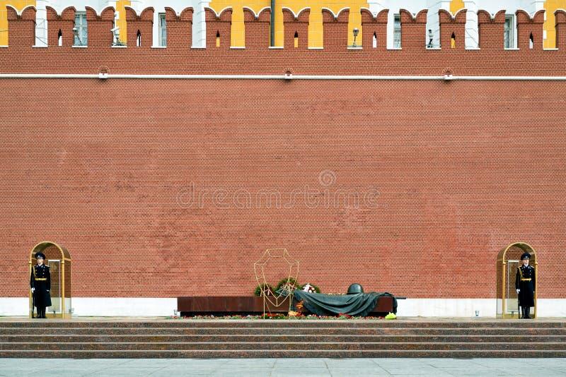 Grobowiec Niewiadomy żołnierz przy Kremlowską ścianą, Moskwa zdjęcie royalty free
