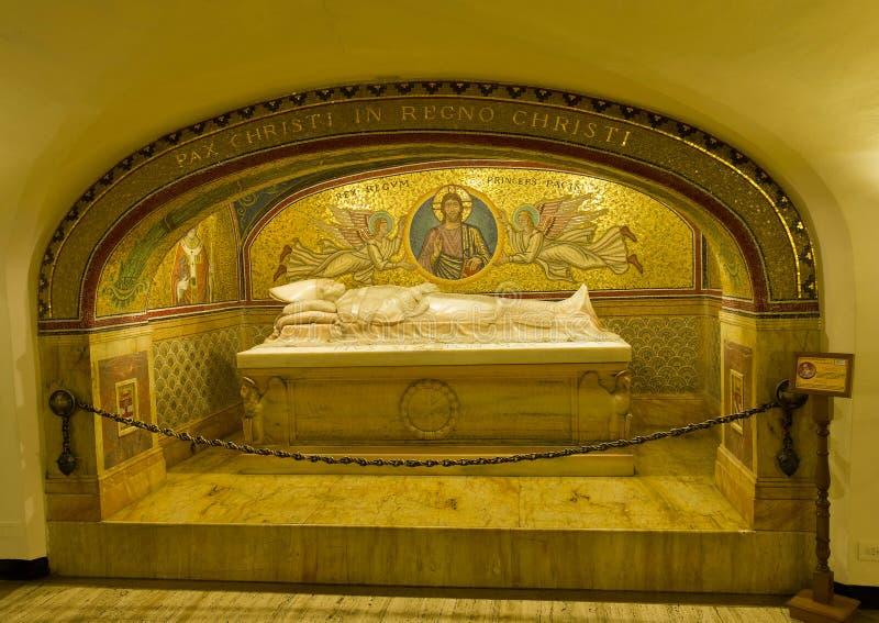 Grobowiec Pius XI. w Watykańskich grotach obraz stock