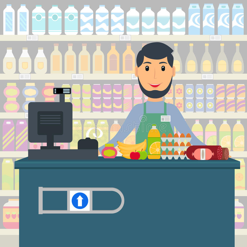 Cashier Cartoons: Groceries Cashier At The Counter. Stock Vector