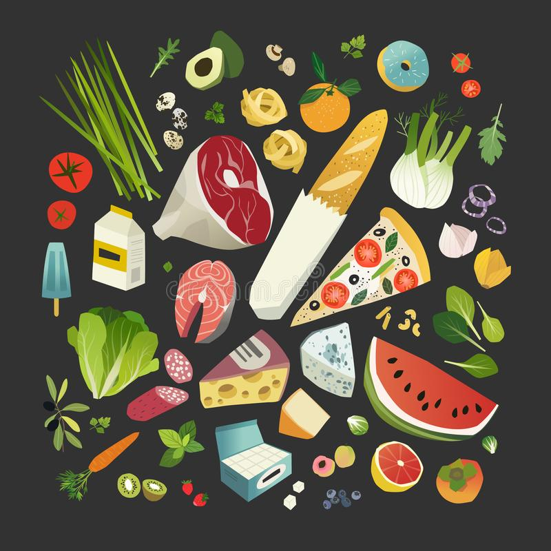 Groceries, fruits and vegetables, meat, cheese, some bakery and dairy product stock illustration