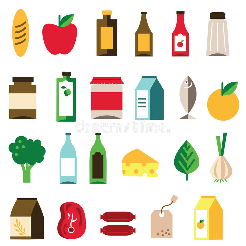 Groceries Icon. Vector groceries icon set for commercial use stock illustration