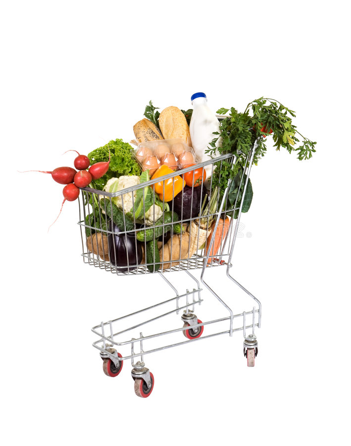 Free Groceries In Shopping Cart Stock Image - 6821261