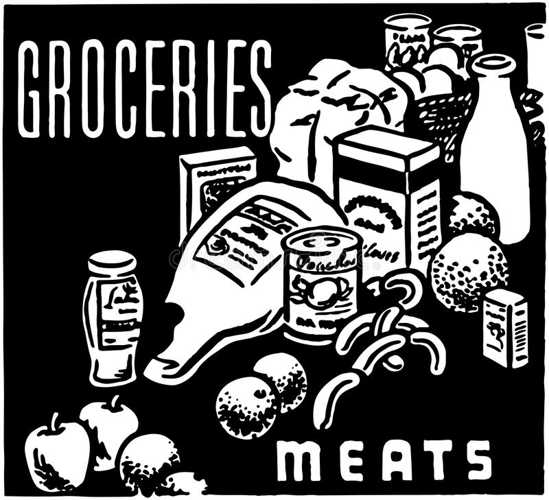 Groceries Meats stock illustration