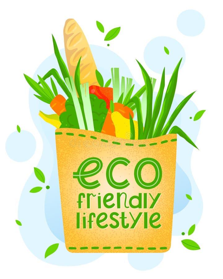 Groceries in a paper bag vector illustration