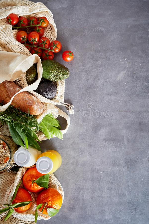 Groceries in plastic free environmental concept stock images