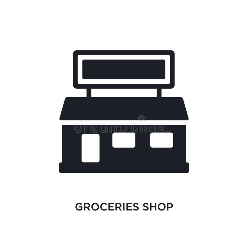 Groceries shop isolated icon. simple element illustration from ultimate glyphicons concept icons. groceries shop editable logo. Sign symbol design on white royalty free illustration