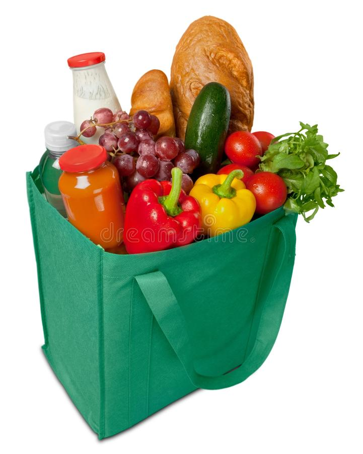 Reusable shopping bag full of groceries stock photos