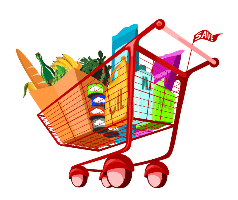 Groceries in shopping cart royalty free illustration