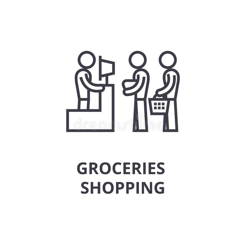 Groceries shopping thin line icon, sign, symbol, illustation, linear concept, vector vector illustration