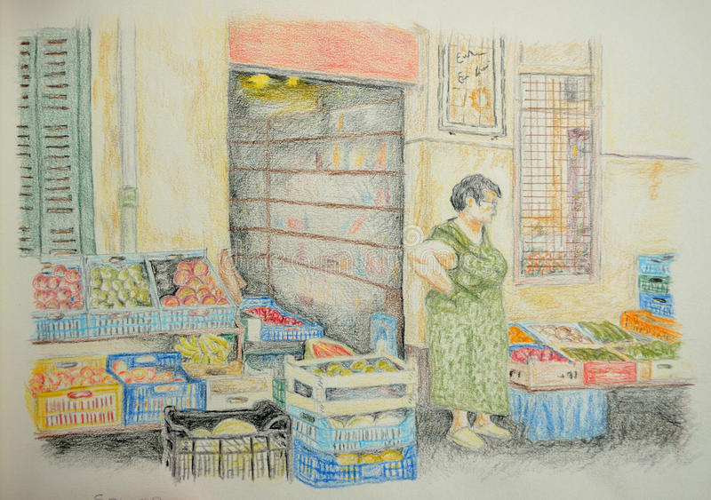 Grocers Shop. Old Lady outside grocers shop looking at the fruit and vegtables vector illustration